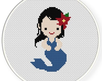 Instant Download,Free shipping,Counted Cross stitch pattern,Cross-Stitch PDF,Blue mermaid,zxxc0366