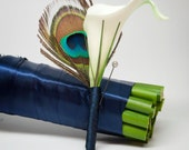 Peacock and Calla Lily Wedding Boutonniere