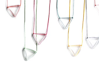 Geometric Triangle Neon Magenta Pendant-Rainbow-Faceted transparent plastic