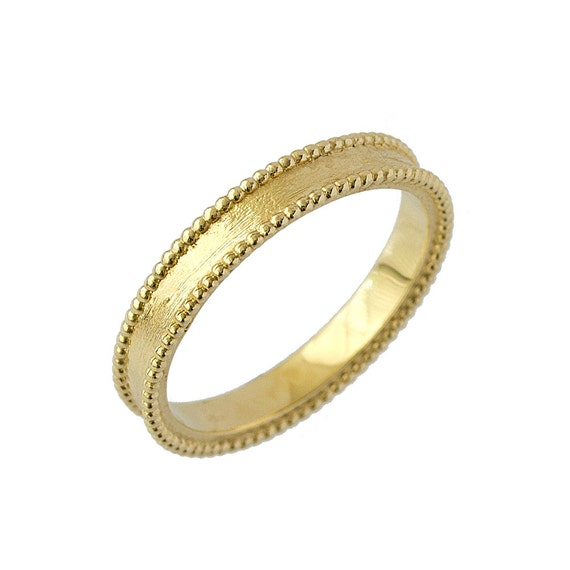 Artisan Milgrain Comfort Fit Wedding Band In 14k Yellow Gold