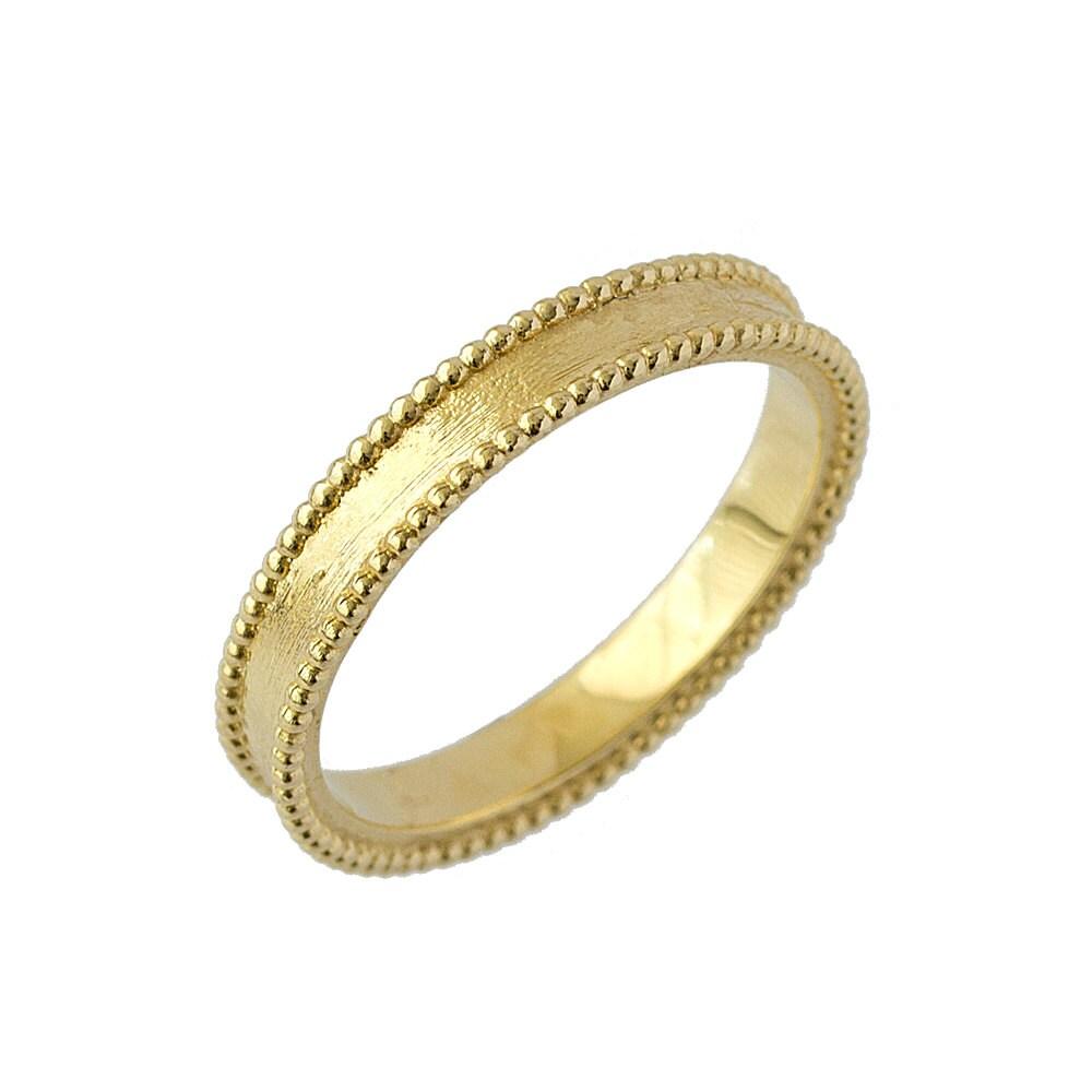 14k Yellow Gold High Polished 2mm Traditional Milgrain: Artisan Milgrain Comfort Fit Wedding Band In 14k Yellow Gold