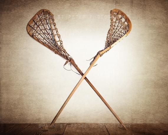 Vintage Lacrosse Sticks Crossed Photo Print Lacrosse Prints