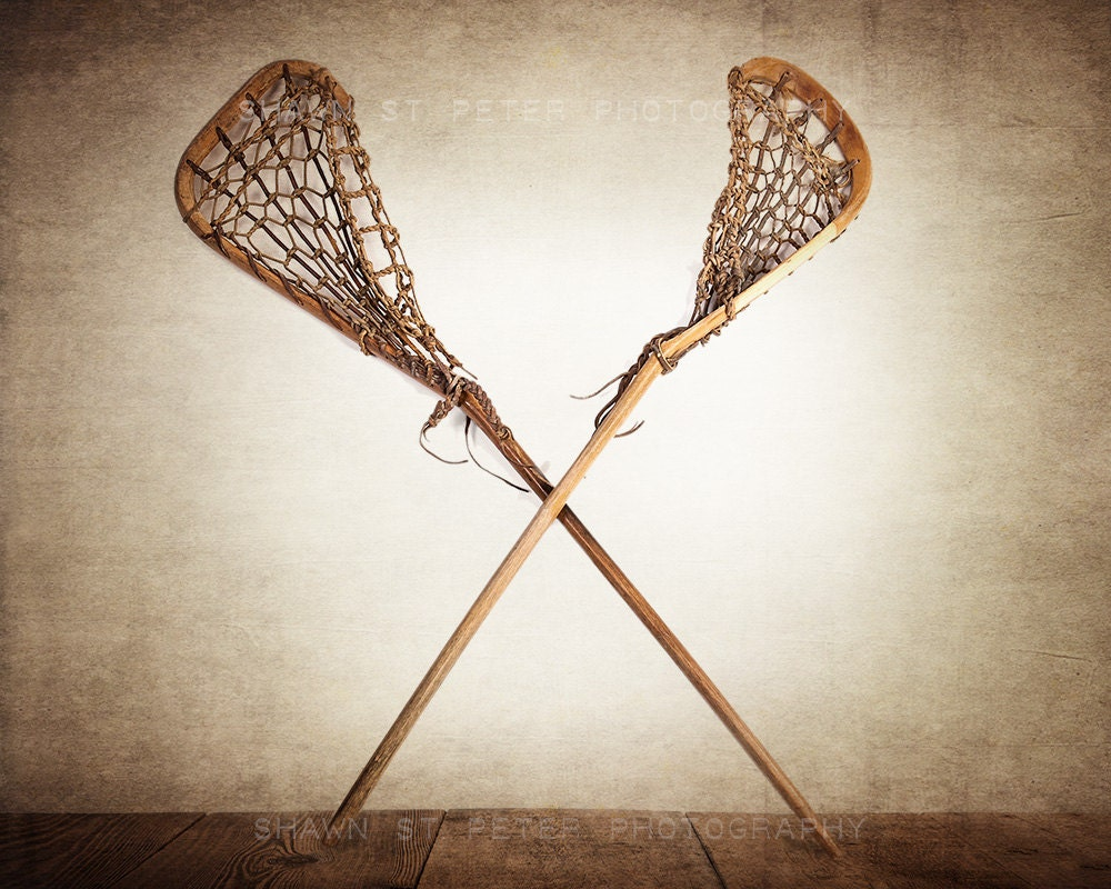 Vintage lacrosse sticks crossed photo print lacrosse prints - Wall decor photography ...
