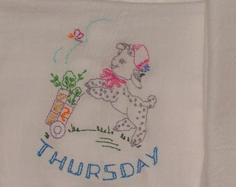 DOW Sheep Flour Sack Towels, Retro, Embroidered Kitchen Tea Towels, ON SALE !!!