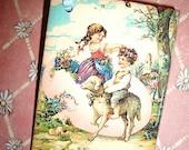 Easter Tags - Vintage Children. Egg and Little Lamb  - Sweet Vintage Image - Set of Six