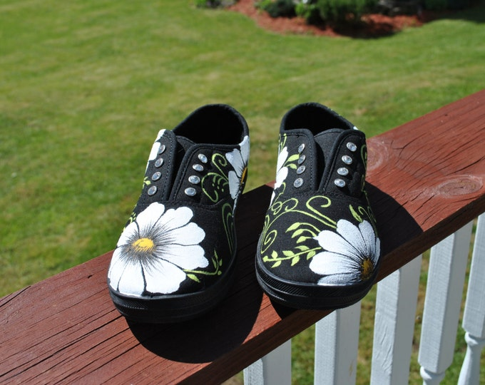 For Sale Super Cute black slip on (no laces) cyrstals instead, with pretty daisies and swirls size 5