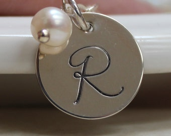 Sterling and pearl monogram necklace