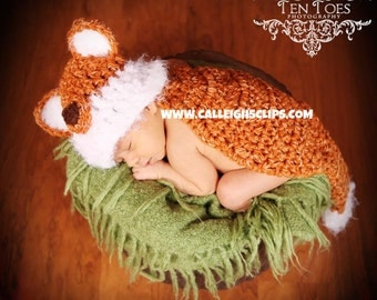 Forrest Fox Cuddle Cape or Diaper Cover Set Newborn Photography Prop