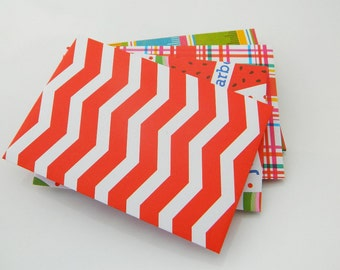 Party Colorful Envelopes - Handmade - Set of 6 - Red, Blue, White, Dots, Green, Figures, Colors, Gift, Favor, Gift Card Envelope