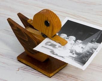 Vintage Handmade Duck Note Holder