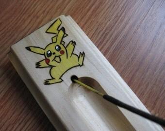 Pokemon Pikachu incense burner made from pine wood