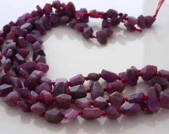 Simple cut petite ruby nugget beads 5-8mm 1/2 strand