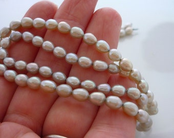 Plump grey rice pearls 5mm 1/2 strand