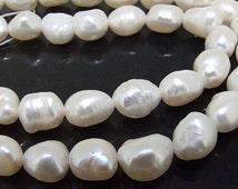 "Rice Freshwater pearl Cultured Pearl White Pearl 7mm-8mm Gemstone Beads Full Strand 15"""