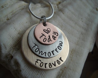 Today Tomorrow Forever Layered Metal Necklace Wedding Anniversary Love Promise Hammered Uniquely Impressed