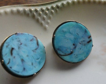 Turquoise and Goldtone Earrings by Beau