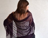 Deep Purple Linen Scarf Lace Shawl Sheer Wrap Bridesmaids Stole  Knitted Scarves