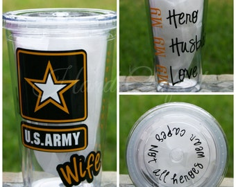 Army Wife Tumbler (other military branches available)