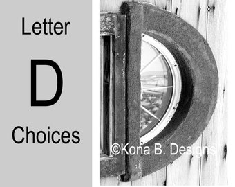 Letter D  -  Alphabet Photography  -  4x6 Photo Letter -  Unframed - Black and White or Sepia