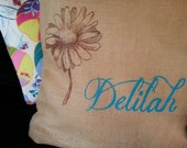 Eco Friendly BABY SHOWER Personalized Throw Pillow WITH Insert - Handmade from a Recycled Coffee Sack