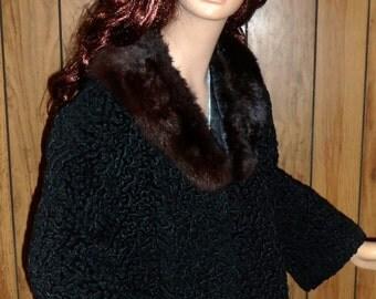 SALE 60s Black & Brown Lambswool Fur Jacket SMALL