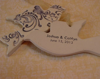 Twenty Personalized Wedding, Anniversary or Party  Favors - Ceramic Doves