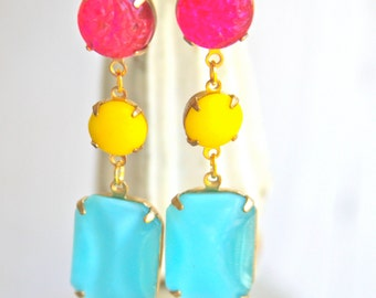 Vintage Aqua Blue Rectangle Moonstone Bright Yellow Pink Textured Glass Drop Dangle Earrings - Bridal, Wedding,Statement