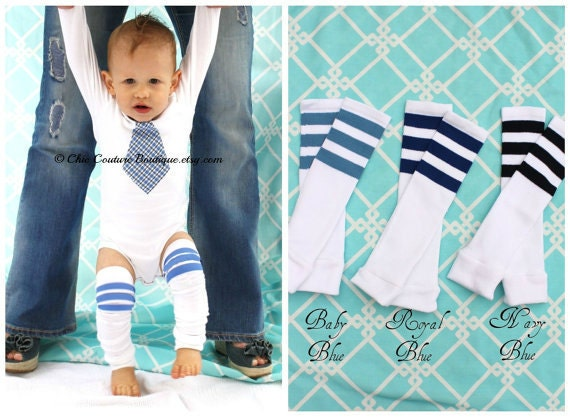 Easter Spring Baby Boy Set of 1 Tie Bodysuit & 1 Pair of Football Striped Leg Warmers. Photo Prop 1st Birthday, Newborn Coming Home Outfit