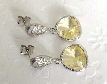 wedding jewelry clear yellow drop earrings on paisley motif rhodium stud earrings with drops, women jewelry dangle earrings