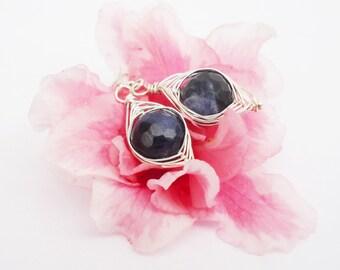 Sodalite Wire Wrapped Earrings, Sterling Silver Earrings, Navy blue Earrings, Gemstone, Handmade Jewelry, UK Seller