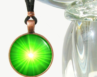Green Heart Chakra Necklace, Starburst Energy Art Pendant, Reiki Charged