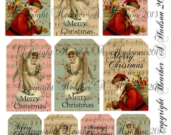 Shabby Vintage chic Victorian Christmas Girl Santa Tags Digital Collage sheet