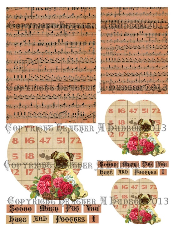 Shabby Vintage Victorian Pug and Pooches Valentine's Day Valentine Card  Digital Collage sheet