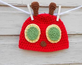 Munchin' Caterpillar Beanie Style Hat, Character Hat, Baby Toddler Caterpillar Costume, Caterpillar Photo Prop, Birthday Hat, Winter Hat