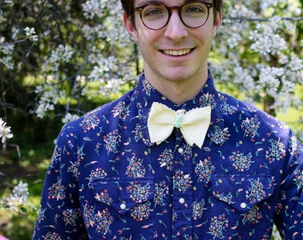 Made to Order Yellow Cotton Dotted Swiss Bow Tie made by Polly Bland