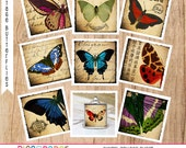 Butterfly Images 1 inch square digital collage to Create Jewelry, Pendants, Charms, Magnets, Printable File