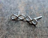 Sterling silver earrings, infinity earrings, infinity studs, silver post earrings