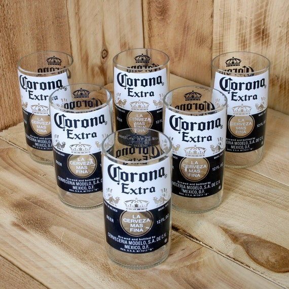 Corona extra 8 ounce juice glasses made from beer bottles six for How to make corona glasses