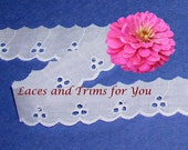 White Eyelet Lace Trim 7 Yards Vintage Cotton 1 inch wide Lot N05A Added Items Ship No Charge
