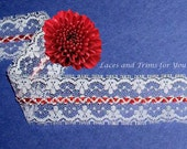 Red White Lace Trim 7/14 Yards Beading 1-1/2 inch wide Lot O11A Added Items Ship No Charge