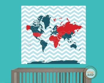Worldmap Decal, Chevron World, 46X50 Inches, Nursery Decor, Baby Room, Play room, Boys room, Girls room