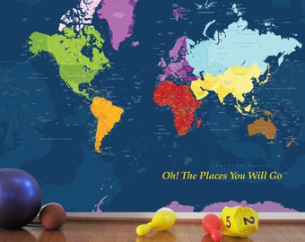 Worldmap Mural Decal, Color My World, 102X82 Inches, Nursery Decor, Baby Room, Play room ideas, World Travel Art