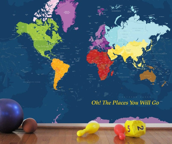 World Map Decal For Kids Worldmap Mural Decal Very Big Wall - World map for boys room