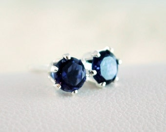 September Birthstone Earrings, Stud Earrings, Genuine Iolite Water Sapphire Gemstone, Child Children Girl, Sterling Silver Jewelry