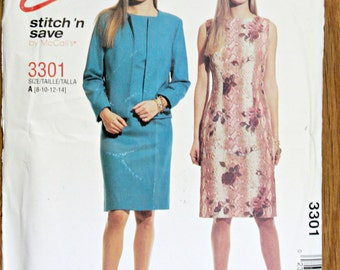 McCalls 3301 Misses Lined Jacket and Dress Sewing Pattern Easy Stitch 'N Save