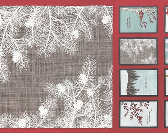 Winters Lane - Holiday Panel in Berry by Kate & Birdie Paper Co for Moda Fabrics