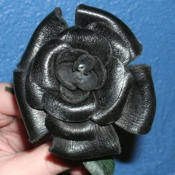 Sculpted black leather rose