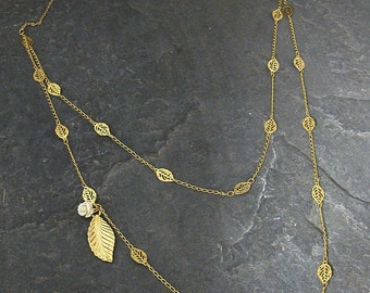 Gift For Her, Layered Gold Necklace Set ,Gold Leaf Necklace ,Gold Double Layered Necklace,Gold Leaf Necklace with Rose,Bridal Necklace