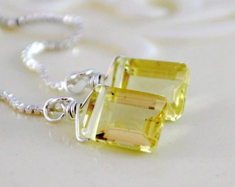 Lemon Quartz Earrings, Pale Yellow Gemstone, Emerald Cut Threaders, Wire Wrapped, Sterling Silver Jewelry Free Shipping