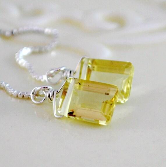 Amethyst Earrings, Purple Amethyst, Chip Earrings, Calcite ... |Light Yellow Gemstone Earrings